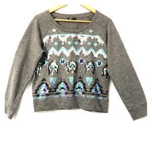 Wallflower Gray Sequin Sweatshirt